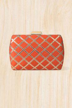 Orange Lace Work Clutch