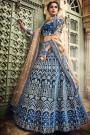 Exquisite Indigo Velvet Gota Work Lehenga