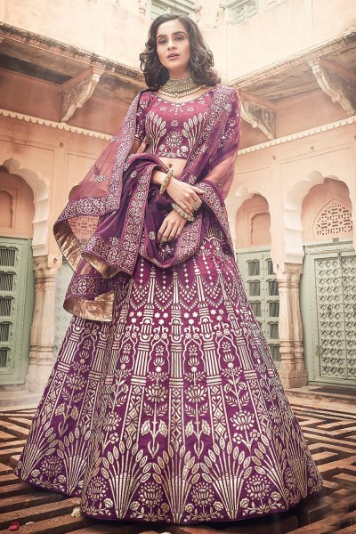 Purple Art Silk Lehenga with Heavy Zari and Gota Work