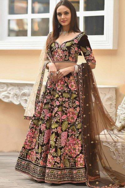 Brown Velvet Lehenga with Heavy Embroidery