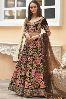 Brown Velvet Lehenga with Heavy Embroidery