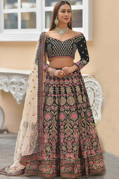 Black Velvet Lehenga with Heavy Embroidery