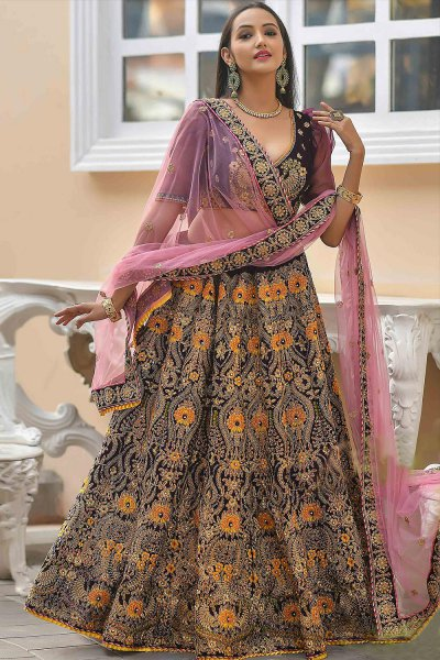 Dark Purple and Pink Velvet Lehenga with Heavy Embroidery