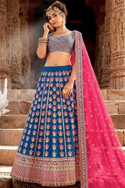 Gorgeous Blue Handloom Silk Lehenga