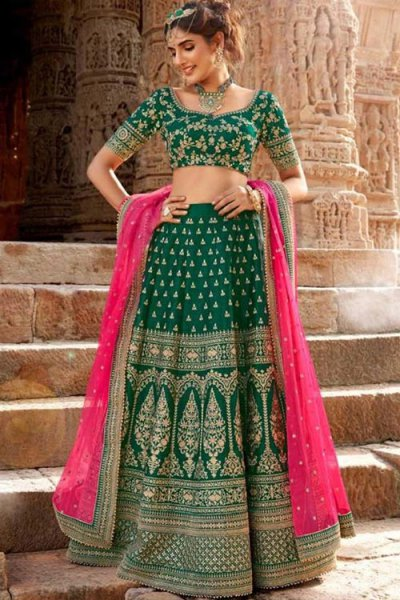 Royal Bottle Green Handloom Silk Lehenga