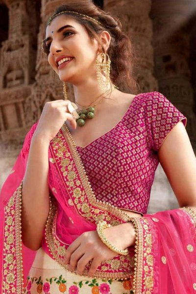 Stunning Beige and Luxurious Pink Handloom Silk Lehenga