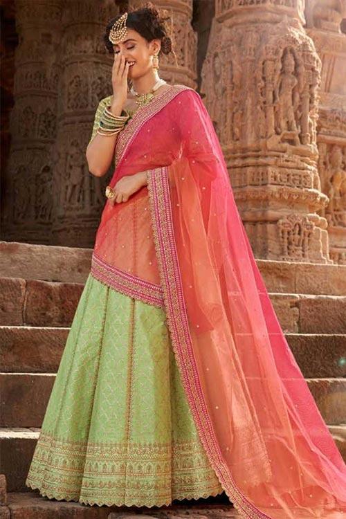 Splendid Pastel Green & Peach Handloom Silk Lehenga
