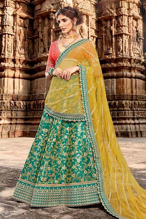 Beautiful Green and Yellow Silk Lehenga
