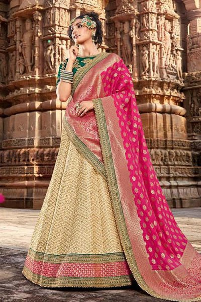 Glam Pink and Beige Handloom Silk Lehenga