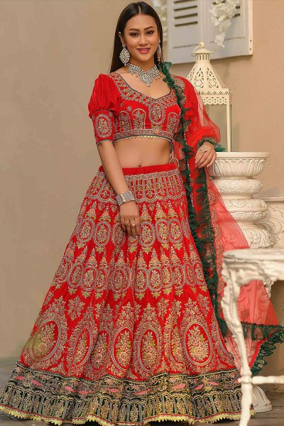 Red Velvet Lehenga with Heavy Embroidery