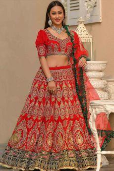 Red Velvet Lehenga with Heavy Embroidery