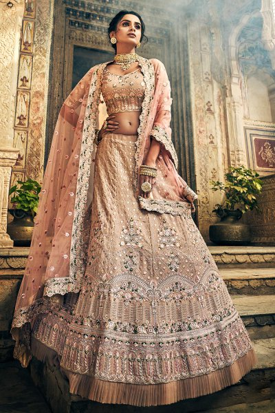 Rose Taupe Embroidered Lehenga in Georgette