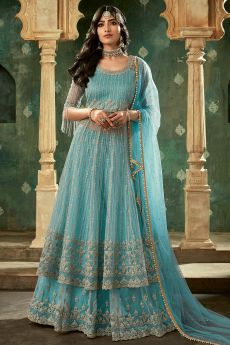SkyBlue Designer Long Anarkali with Lehenga