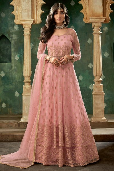 Pink Designer Long Anarkali with Lehenga
