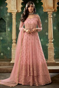 Pink Designer Long Anarkali with Lehenga