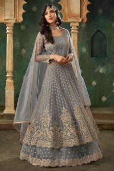 Powder Grey Designer Long Anarkali with Lehenga