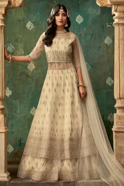 Off White Designer Long Anarkali with Lehenga