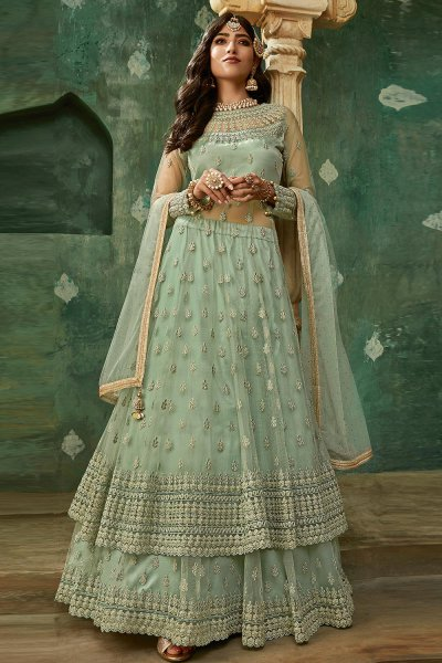 Laurel Green Designer Long Anarkali with Lehenga