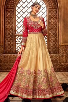 Pinky Red and Beige Silk Anarkali Suit with Zari Embroidery