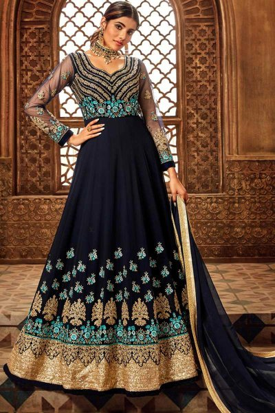Navy Velvet Anarkali Suit with Zari Embroidery