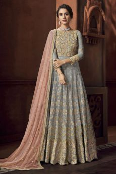 Powder Grey & Pink Embroidered Anarkali Suit with Dupatta