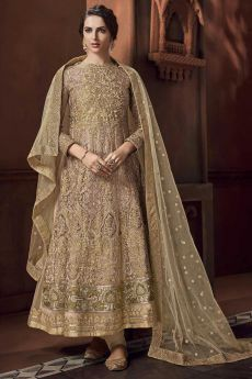Beige Embroidered Anarkali Suit with Dupatta