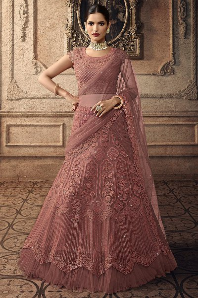 Punch Pink Net Lehenga Choli with Embroidery