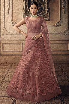 Punch Pink Net Lehenga Choli with Embroidery