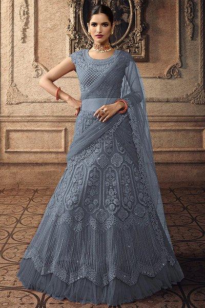 Steel Blue Net Lehenga Choli with Embroidery