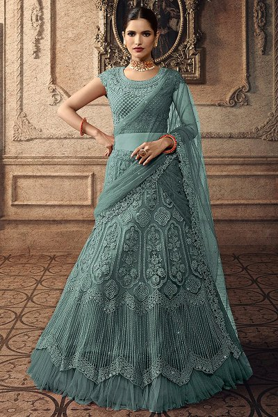 Cyan Net Lehenga Choli with Embroidery