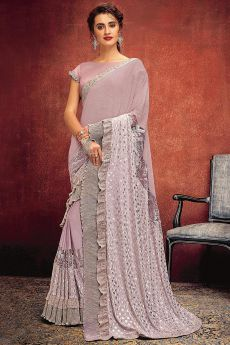 Stunning Foil Printed Lilac Saree in Lycra