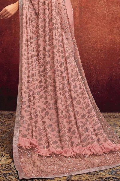 Stunning Foil Printed Pastel Pink Saree in Lycra