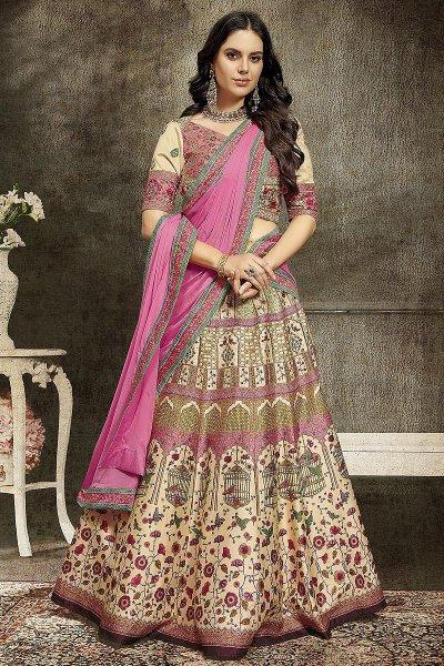 Pink & Beige Embroidered Anarkali Dress/ Lehenga Set in Silk
