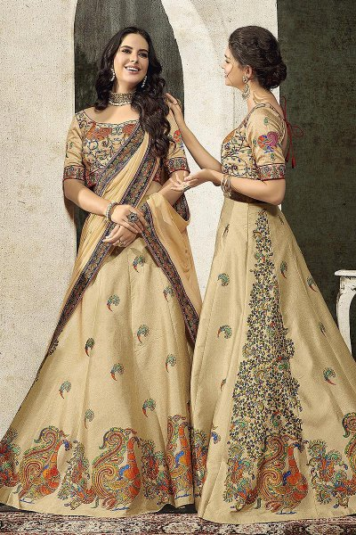 Ecru Embroidered Anarkali Dress/ Lehenga Set in Silk