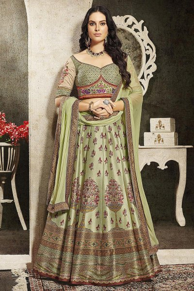 Pistachio Green Embroidered Anarkali Dress/ Lehenga Set in Silk