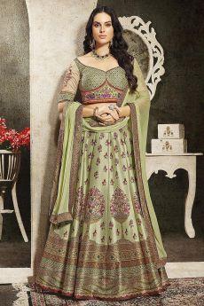 Pistachio Green Embroidered Anarkali Dress/ Lehenga Set in Silk
