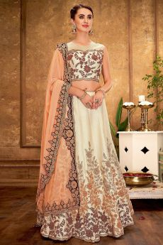 Off White & Peach Silk Lehenga Choli with Embroidery