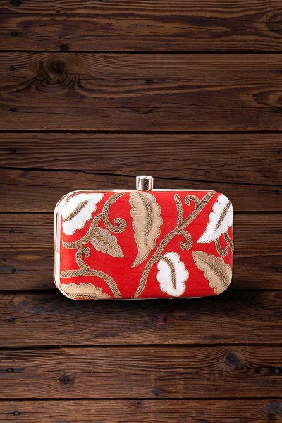Red Hand Embroidered Clutch