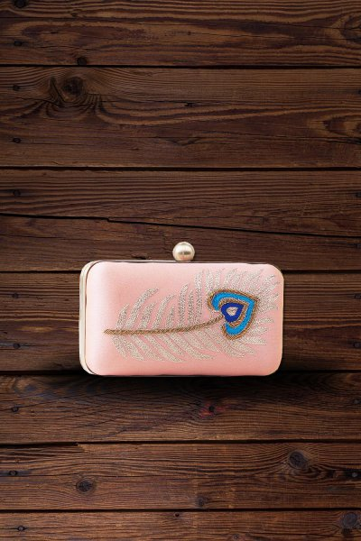 Peach Peacock Feather Hand Embroidered Clutch