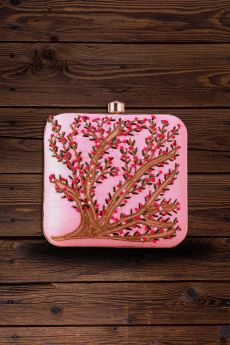 Pink Hand Embroidered Clutch