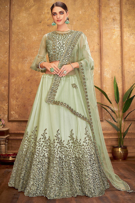 Sage Green Silk Lehenga Choli with Embroidery