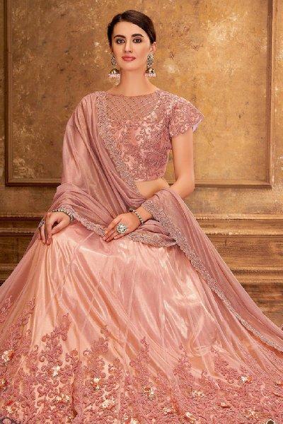 Dusky Pink Satin Silk Lehenga Choli with Embroidery