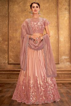 Dusky Pink Satin Silk Lehenga Choli with Embroidery