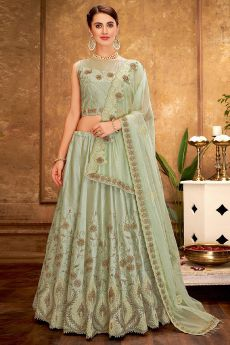 Moss Green Silk Lehenga Choli with Embroidery
