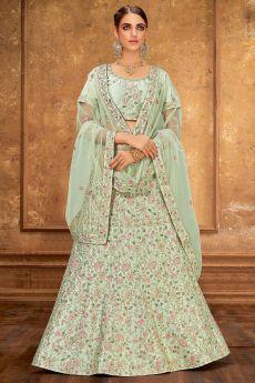 Light Mint Green Silk Lehenga Choli with Embroidery
