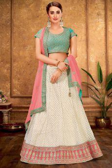Elegant White, Pink & Mint Lengha in Raw Silk