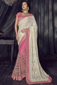 Designer Pink Party Wear Saree in Georgette