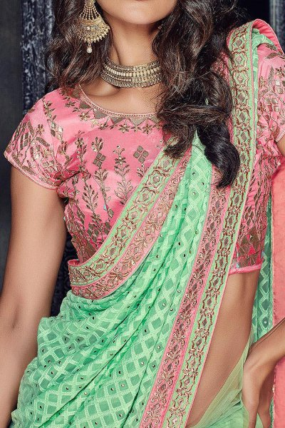 Designer Pink and Mint Party Wear Saree in Georgette