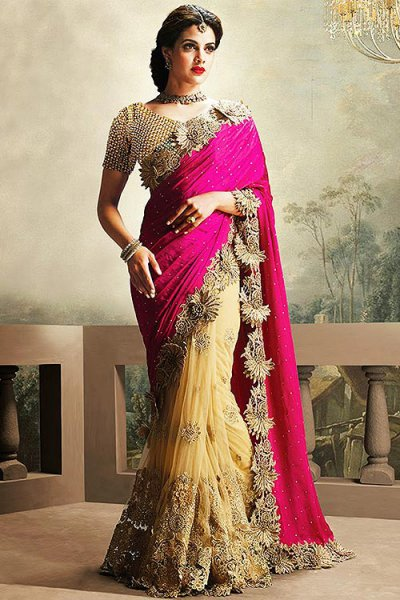 Designer Pink and Beige Party Wear Saree in Net