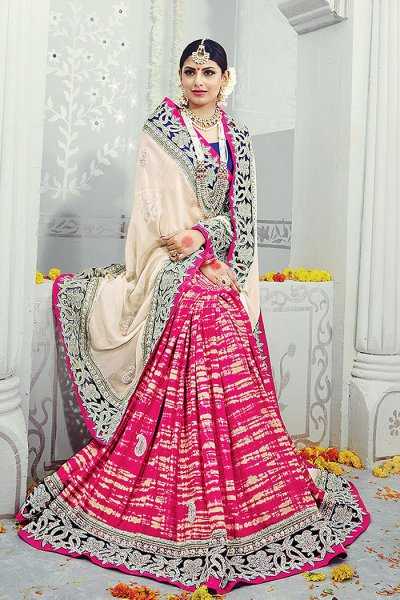 Designer Pink and Off-White Party Wear Saree in Georgette